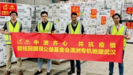 """China-Australia work as one together to fight epidemic"" reads the banner being held by Risland's CEO Dr Guotao Hu (second from left), Ray Zi, general manager, human resources & administration and former communications manager Isaac Huo."